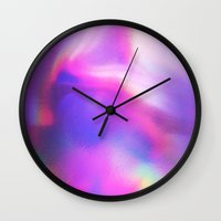 holographic Wall Clocks featuring An abstract colorful holographic futuristic texture. by Bastetamon