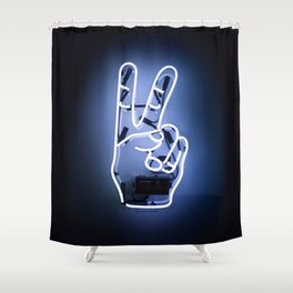 Peace Sign Hand Neon Sign Shower Curtain