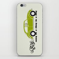 volkswagon iPhone & iPod Skins featuring Snug as a Thug in a Bug (green) by The Wallpaper Files