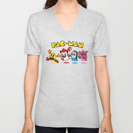 Pac man goes to the movies Unisex V-Neck
