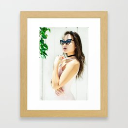 Woman in Pink Jumpsuit Framed Art Print