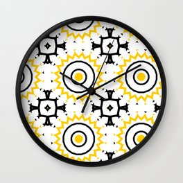 The Sun Moroccan Tiles Pattern Yellow Wall Clock