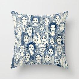 WOMEN OF THE WORLD BLUE Throw Pillow