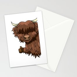 Thumbs Up Highland Cow Heilan Cattle Stationery Cards