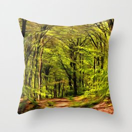 Forest Walk in Spring Throw Pillow