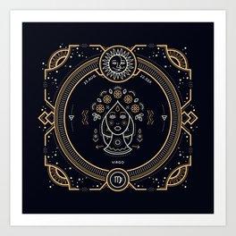 Virgo Zodiac Gold White on Black Background Art Print