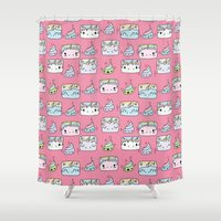 unicorns Shower Curtains featuring Unicorns Friends by Claudia Ramos Designs