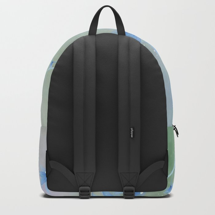 Fantasy Floating Blue Flowers Abstract Backpack