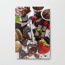An assortment of  chocolate with nuts, muffins, macaroons Metal Print