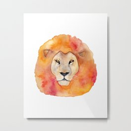 Watercolor Lion Metal Print