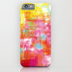 OFF THE GRID 2 Colorful Pink Pastel Neon Abstract Watercolor Acrylic Textural Art Painting Rainbow iPhone 6s Slim Case