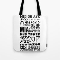 league of legends Tote Bags featuring League of Legends Quotes by Erick Navarro