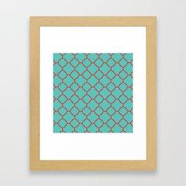 Quatrefoil - Turquoise & Red Framed Art Print