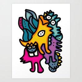 Multicolor Bunch of Graffiti Art Cool Friends Art Print