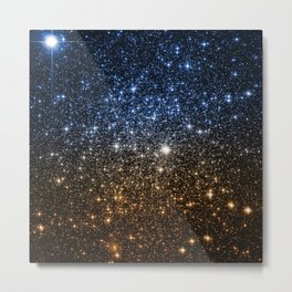 Galaxy Sparkle Stars Blue to Golden Bronze Ombre Metal Print