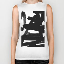 Thinking Out Loud - Black and white abstract painting, raw brush strokes Biker Tank