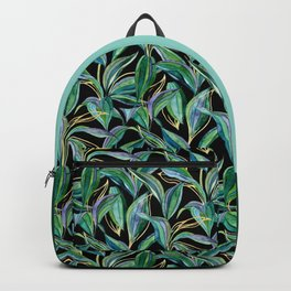 Leaves + Lines in Gold, Green and Black  Backpack