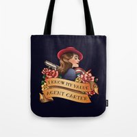 agent carter Tote Bags featuring Agent Carter Vintage Tattoo Dark by Bonnie Detwiller