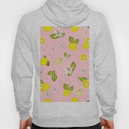 Lemon, lemon slice and leaves pattern pink background Hoody