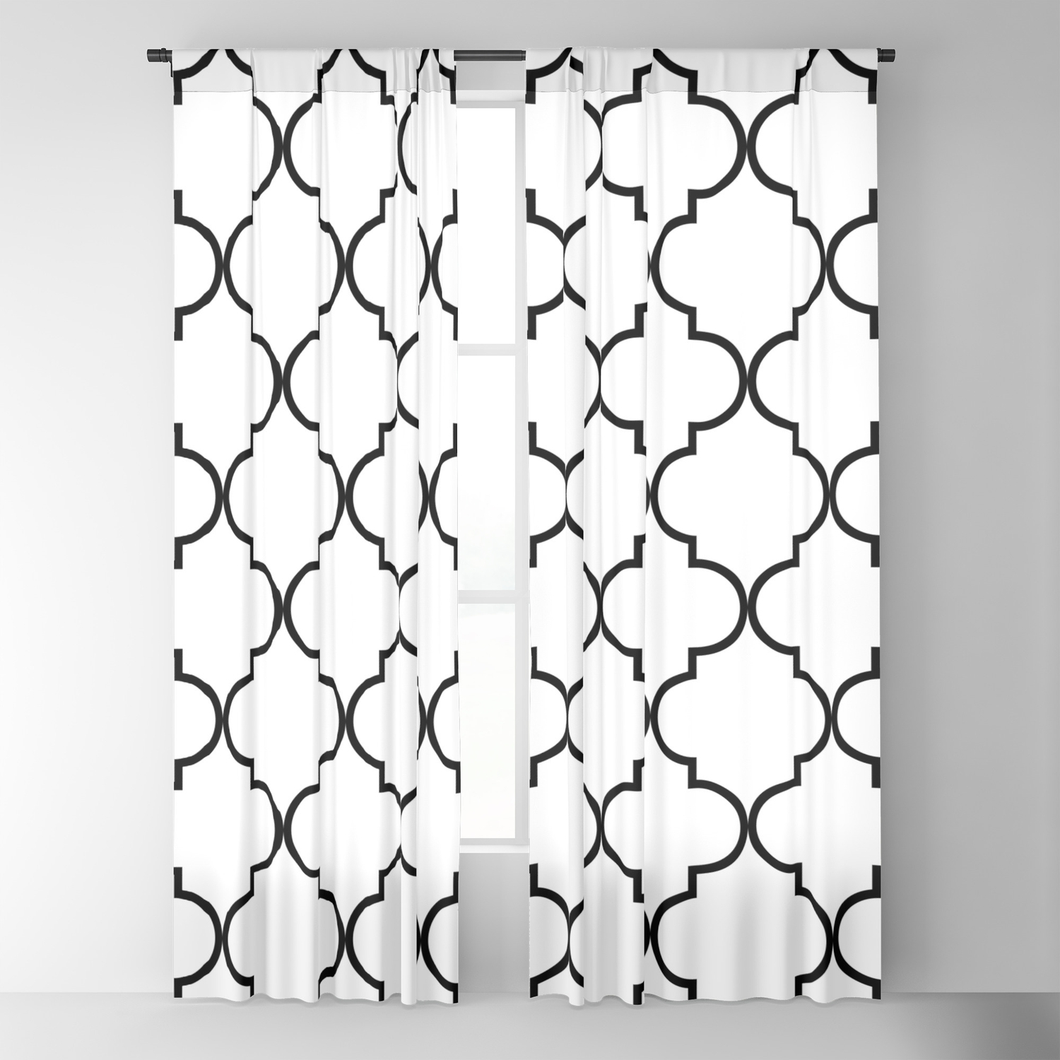 Black On White Blackout Curtain By