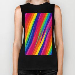 Wonky Rainbow Stripes Biker Tank