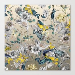 Exotic Fragrant Floral Garden in Gold Canvas Print