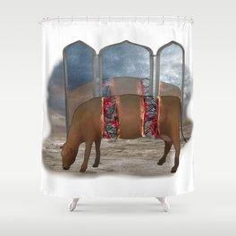 intestinal cow mirrow Shower Curtain