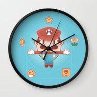 super mario Wall Clocks featuring Super Mario by Richard Howard