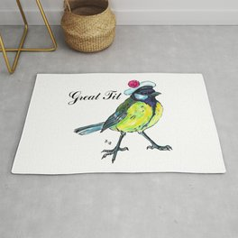 Great tit in white beret Rug