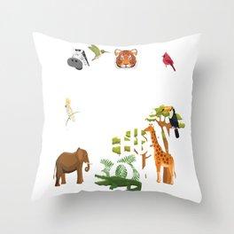 Sister Of The Birthday Boy Zoo Theme Animal Party print Throw Pillow
