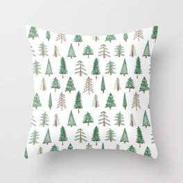 sketchy evergreen pattern Throw Pillow