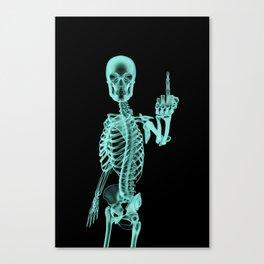 X-ray Bird / X-rayed skeleton demonstrating international hand gesture Canvas Print