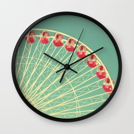 Vintage Ferris Wheel at the Chicago Navy Pier Print Wall Clock