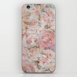 Vintage elegant blush pink collage floral typography iPhone Skin