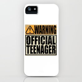 """A Birthday Tee """"Warning! Official Teenager"""" T-shirt Design Youth Teens Happy Natal Day Sign Teen iPhone Case"""