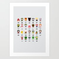 warcraft Art Prints featuring Video Games Pixel Alphabet by PixelPower