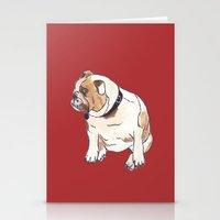english bulldog Stationery Cards featuring English Bulldog by Tammy Kushnir