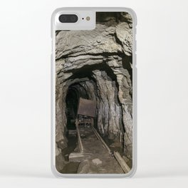 Mine cart in an old abandoned mine cave. Near Matlock, Derbyshire, UK. Clear iPhone Case