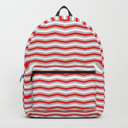 Red Silver and White Christmas Wavy Chevron Stripes Backpack