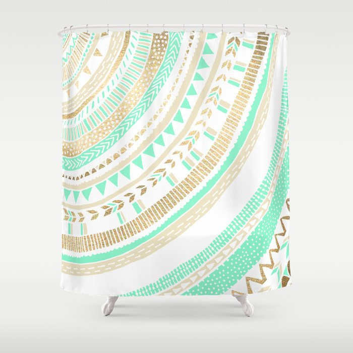 Mint Gold Tribal Shower Curtain By Tangerinetane