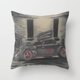Hot Rod Batmobile  Throw Pillow