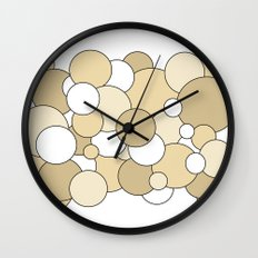 Bubbles - brown and white Wall Clock