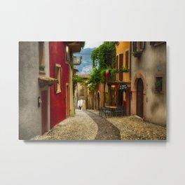 Colorful Street in Malcesine Metal Print