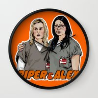 alex vause Wall Clocks featuring Piper & Alex by Vague