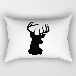 Black & White Stag Head Rectangular Pillow