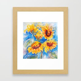 Sunflowers x 5 watercolor by CheyAnne Sexton Framed Art Print