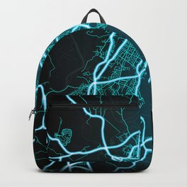 Gloucester, England, Blue, White, Neon, Glow, City, Map Backpack