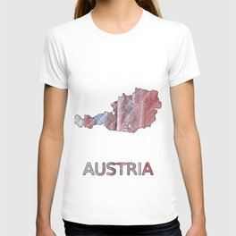 Austria map outline Red Gray Clouds watercolor T-shirt