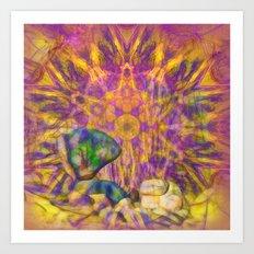 Balancing rock in psychedelic landscape Art Print