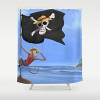 luffy Shower Curtains featuring Monkey D Luffy by Laércio Messias